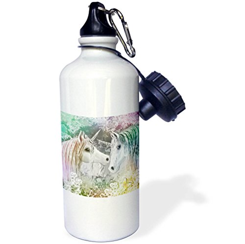 Price comparison product image 3dRose Dream Essence Designs-Fantasy Unicorns - A pair of unicorns within an enchanted garden. - 21 oz Sports Water Bottle (wb_269506_1)