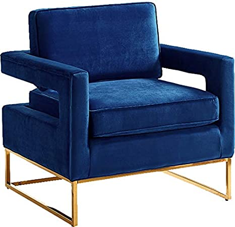 Swell Meridian Furniture Noah Collection Modern Contemporary Navy Velvet Upholstered Accent Chair With Gold Stainless Steel Base 33 5 W X 29 5 D X Machost Co Dining Chair Design Ideas Machostcouk