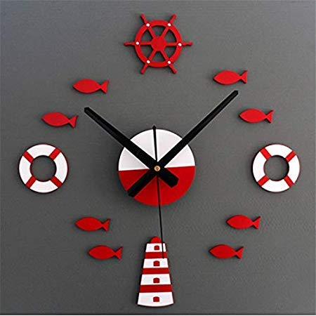 2017 Mediterranean Diy 3d Wall Clock Home Stickers Decoration Art Red Blue Bedroom Ceiling - Wall Sticker ()