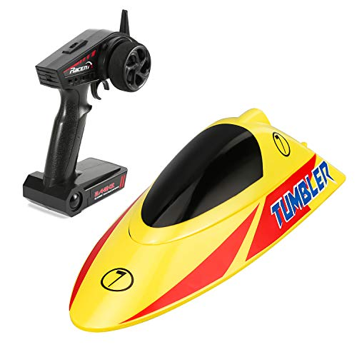 FUNTECH RC Boat High Speed 30km/h Pool Racing - 10.5 inch 2.4 GHz Remote Control Boat with Self-righting Auto Roll Back - Best Gifts for Kids&Adults, Boys& Girls - Yellow