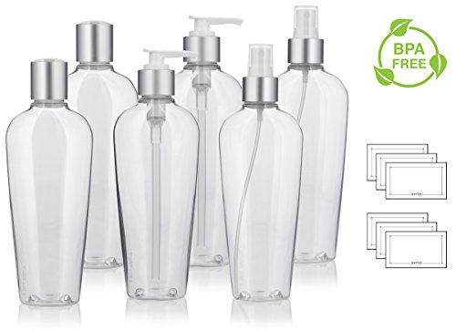8 oz Clear PET (BPA Free) Plastic Tapered Oval Refillable Luxury Bottle Set with Silver Tops with 2 each: Fine Mist Sprayers, Lotion Pumps, and Disc Caps (6 pack) + ()