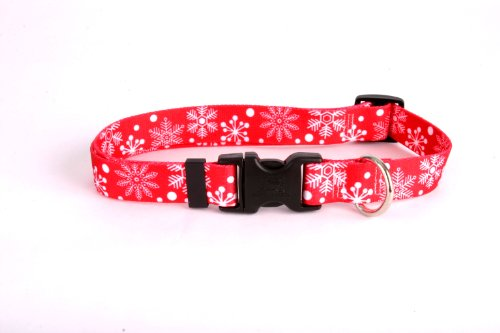 (Red Snowflakes Dog Collar - Size Small 10