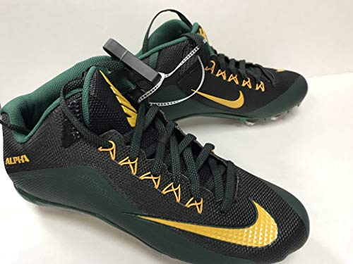 Nike Men's Alpha Pro 2 3/4 TD PF NFL Green Bay Packers Football Molded Cleats Cleated Shoes, Green/Black/Yellow, Size13 M (US)