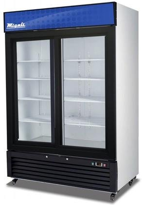 "Migali C-49RS Competitor Series Refrigerator Merchandiser, 54-1/4"" W, 49.0 cu. ft. Capacity, 2 Sliding Glass Doors, White Sides/White Interior/Black Front"