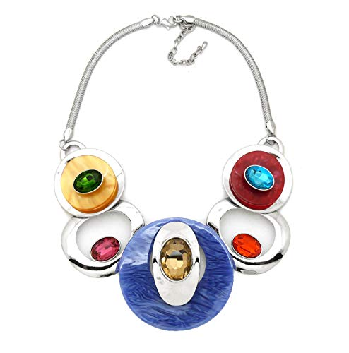 Color Stone Necklace - Fashion 21 Women's Celluloid Acetate Oval Disc Glass Stone Metal Link Statement 17