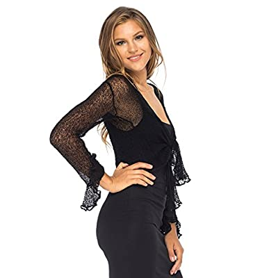 Back From Bali Womens Sheer Shrug Bolero Long Sleeves Cropped Cardigan Lite Bell Sleeves at Women's Clothing store