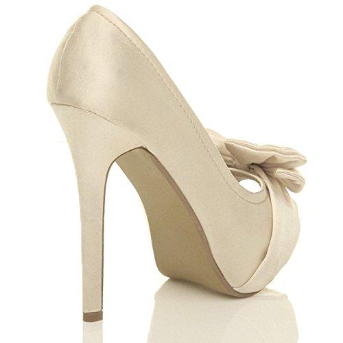 Ivoire Chaussures Talon Bout Pointure Plateforme nœud Satin soirée Haut élégant Femmes Ouvert 61PwHP