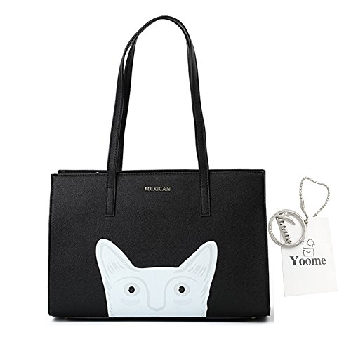 Yoome carino Cartoon Croce Pattern Top Handle Borse per borse donna borse per Teen Girls Tote - Nero
