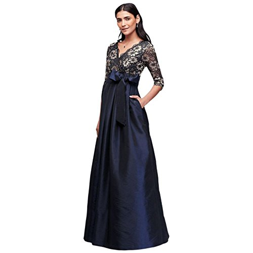 Floral Lace and Shantung Ball Mother of Bride/Groom Gown Style JHDM1501, Navy, 16