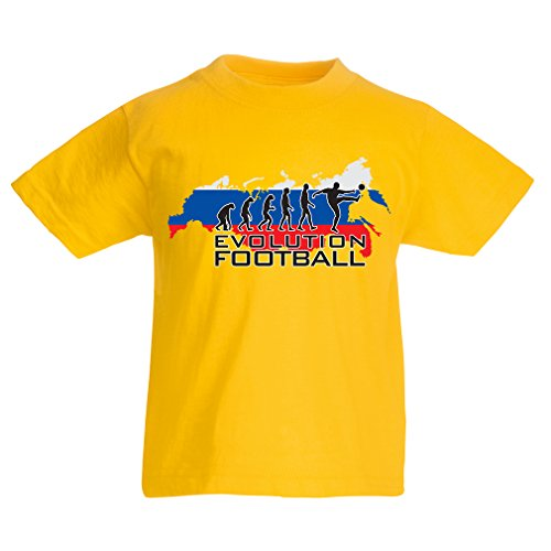 fan products of lepni.me N4508K Kids T-Shirt Evolution Football - Russia (5-6 Years Yellow Multicolor)