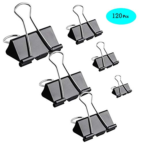 MeetUs 120 Pcs Paper Binder Clips Paper Clamp with Box for Office, School and Home Supplies, Assorted 6 Sizes & Black Color