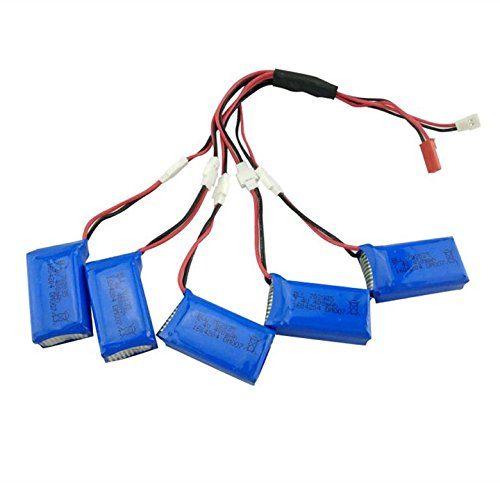 Sea jump 7.4V 400mAh Lithium Polymer RC Quadcopter Battery (5PCS) with a 5 in 2 Converting Line for DM007