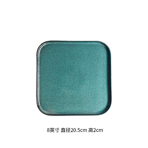 - Ceramic Western plate steak plate square dish dish European home creative pad plate tea tray personality kiln glaze 8 inch square short side - green pine sesame point 20.5x2cm