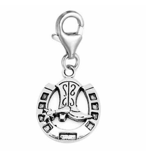 "Clip on "" Horseshoe with Cowboy Boot "" Charm Pendant for European Clip on Charm Jewelry w/ Lobster Clasp"