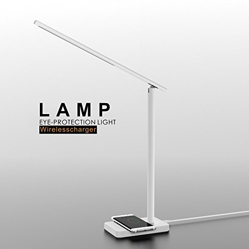 Led Desk Lamp With Usb Charging Port  Mr Mah Stylish Matel Table Lamp  Eye Caring Dimmable Lamp With Wireless Charger For Iphone 8 Plus  Iphone X  Touch Control  For Reading  Bedroom  Office  White