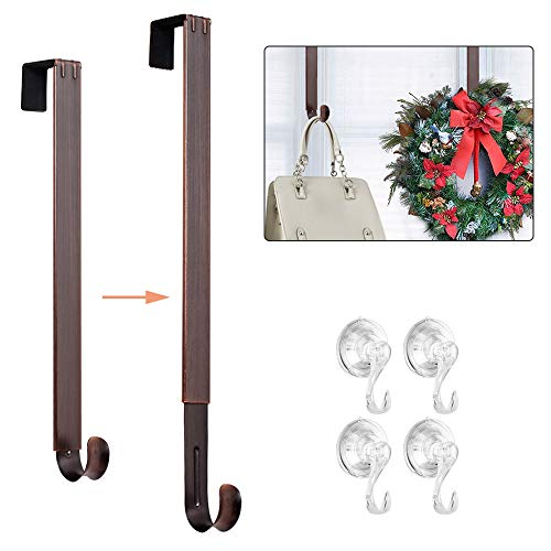 HMSEC Wreath Hanger, Adjustable Wreath Hanger for Front Door, 20 lbs Door Wreath Hook with 4 Pack Suction Cup Hooks Set for Glass Door (Bronze)