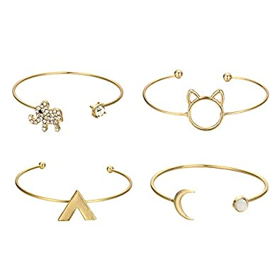 Powerfulline Exquisite 4Pcs Fashion Women Cat Elephant Rhinestones Open Bracelet Bangle Jewelry Gifts Sale