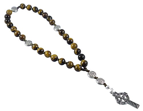 Kit Johnson Designs, Anglican Rosary Beads Tiger Eye Celtic Cross, Prayer Bag, Instruction ()