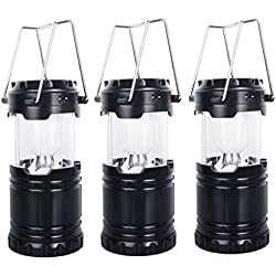 ECHI Portable Outdoor LED Camping Lantern with 3 Charging Ways,USB Power,Solar Energy,3AA Batteries (3-PACK)