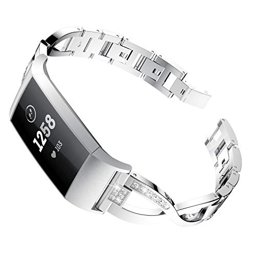 patrohoo Metal Bands for Fitbit Charge 3,Stylish X-Link Metal Bracelets Replacement,Adjustable Fashion Straps with Rhinestones for Charge3.Silver