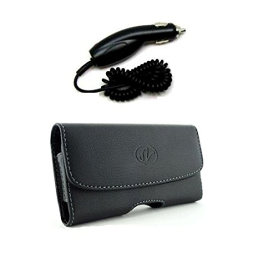 Package Deal Car Charger Adapter & Black Horizontal Leather Cover Belt Clip Side Case Pouch For LG enV enVy Touch VX11000
