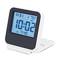 Egundo Small Digital Alarm Travel Clocks Folding Nightlight LCD Screen Display Day Date Temperature Alarm Repeating Snooze Portable White Clock for Kids Heavy Sleepers Battery Included
