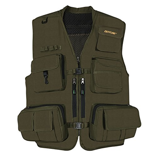 Multifunction Outdoor Fishing Vest; Goture Multi Pockets Mesh Breathable Jackets Waistcoat for Fishing Hunting Climbing Shooting Hiking traveling Photography Journalists with 15 Pockets(XX-Large)