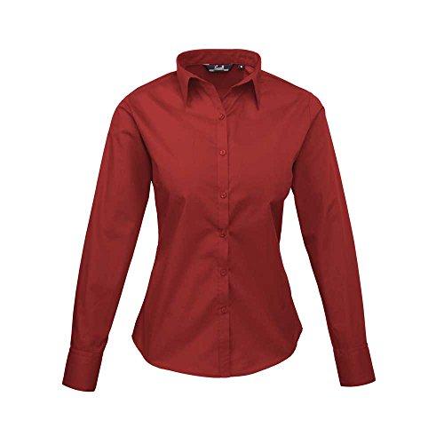 Chemisier en femme popeline rouge Premier pour longues Bordeaux en manches TaqAdCwO