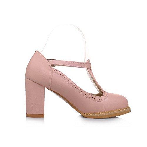 AllhqFashion Damen Weiches Material Schnalle Hoher Absatz Rein Pumps Schuhe Pink