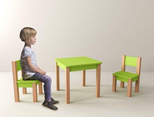 Kindertisch Mit 2 Stuhle 3 Tlg Set Sitzgruppe Fur Kinder Grun