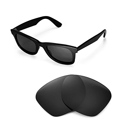 Walleva Replacement Lenses for Ray-Ban Wayfarer RB2140 50mm Sunglasses - Multiple Options Available(Black - - Wayfarer Replacement Lenses Rb2140
