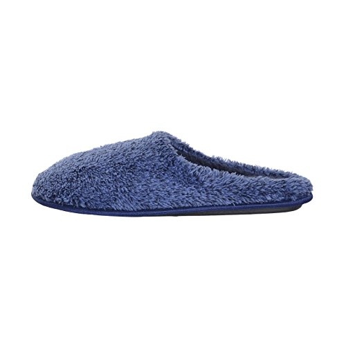 Mens Classic Mule Slippers Plush Two Tone Fabric Cosy Rubber Grip Sole Blue 9/10 ltZKDh