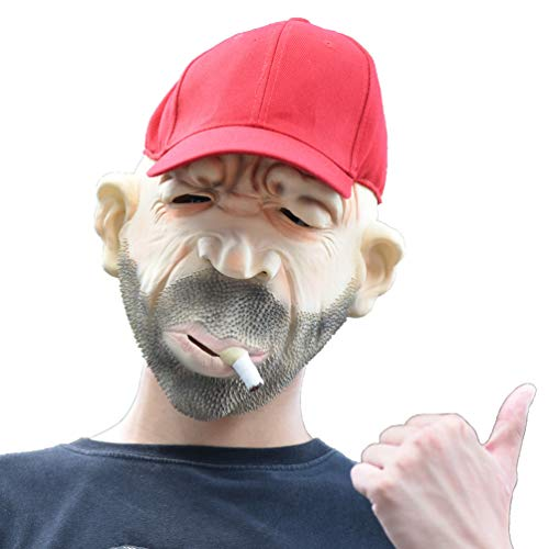 PARTY STORY Funny Smoking Man in Red Hat Halloween Cosplay Costume Mask for Adults Creepy Scary Party Decoration Props]()