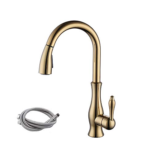 KES cUPC NSF Certified Brass Singel Lever High Arc Pull Down Kitchen Faucet with Retractable Pull Out Wand, Swivel Spout Gold, L6915LF-PG