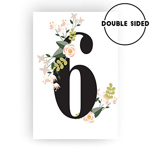 FLUYTCO Table Numbers for Wedding Reception and Decoration - 1 to 30 Double Sided Floral Cards - 4x6 for Banquet, Birthday, Catering, Party and Other Events - Centerpiece Decor