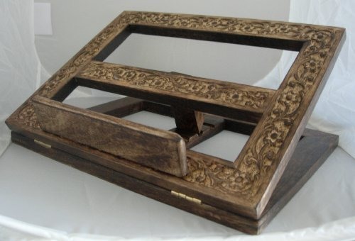 Handcarved Wooden Folding Book/Bible - Altar Stand Book