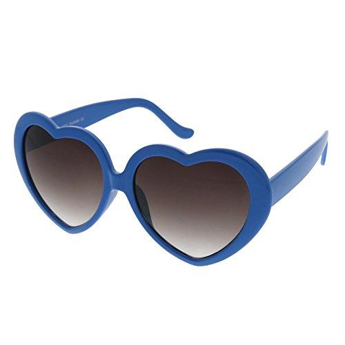 zeroUV - Women's Oversize Neutral-Colored Lens Heart Shaped Sunglasses 55mm (Blue / - Sunglasses Lavender