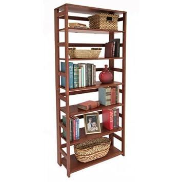 6 Shelf Folding Bookcase Open Storage Multiple Finishes Fold Out Shelves