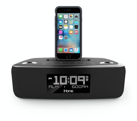 iHome iDL44 Lightning Dock Dual Clock Radio USB Charge/Play iPhone 5/5S & 6/6Plus & All iPad Models Lightning Connector - Newest Model (Gunmetal) by iHome (Image #1)