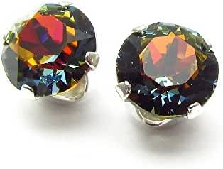925 Sterling-silver stud earrings expertly made with Volcano crystal from SWAROVSKI