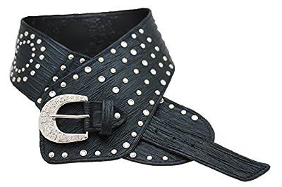 TFJ Women Wide Western Fashion Belt Hip Silver Metal Studded Buckle S M Black