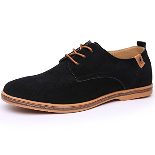Sun Lorence Hommes Grande Taille Casual Lace-up Daim Cuir Oxford Chaussures Noir