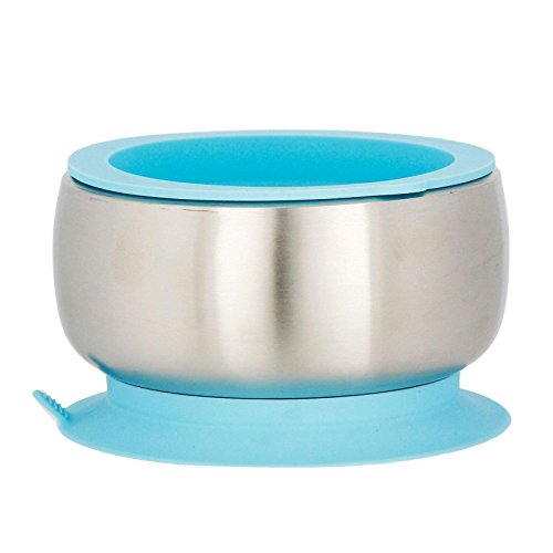 Avanchy Baby Feeding Stainless Steel Spill Proof Stay Put Suction Bowl + Air Tight Lid - Great Baby Gift Set (Blue)