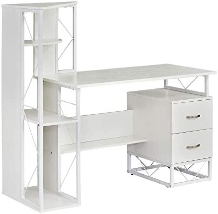 Mayline SOHO Storage Desk with Shelving and 2-Drawer Pedestal, Textured White Laminate