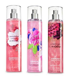 Bath and Body Works 3 Pack Diamond Shimmer Mist 8Oz. Japanese Cherry Blossom, Sweet Pea and A Thousand Wish.