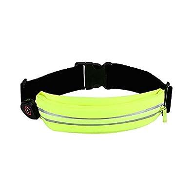 Ceinture de Course TKSTAR Running Belt Poche réfléchissante de ceinture de course de LED avec lumière rechargeable USB,Support de téléphone portable pour les coureurs,pour les femmes et les
