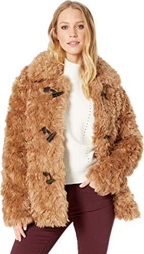 Avec Les Filles Women's Faux Fur Teddy Toggle Coat, Sand Large (Toggle Fur Faux Coat)
