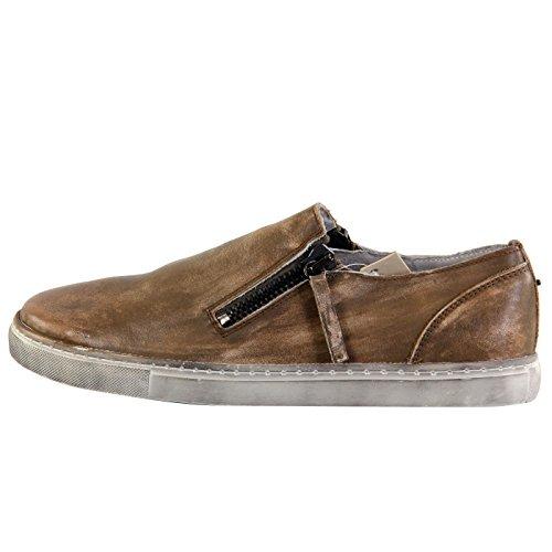 DIESEL Herren Leder Low Sneaker Schuhe D-ICON Beige G01145 Größe 43