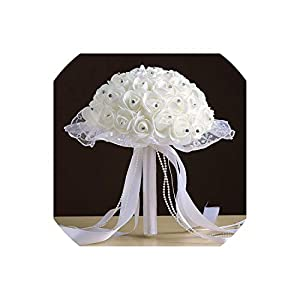 meet-you Bridal Wedding Bouquets Handmade Holding Artificial Foam Rose Rhinestone Decor Lace Edge Collar Long Ribbon Beaded Chain GAI 46
