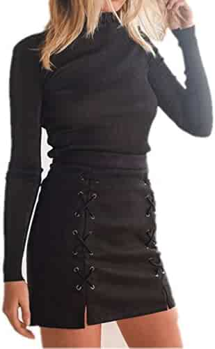 katiewens Women's Classic High Waist Lace Up Bodycon Faux Suede A Line Mini Pencil Skirt